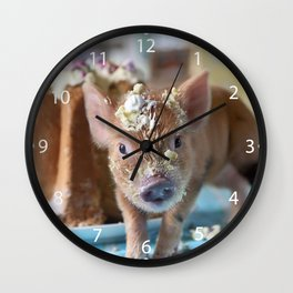 Funny pig and  the cake Wall Clock