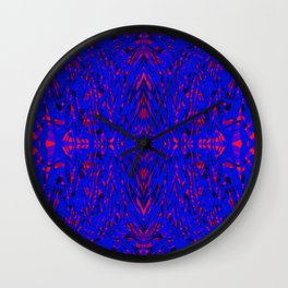 blue on red symmetry Wall Clock