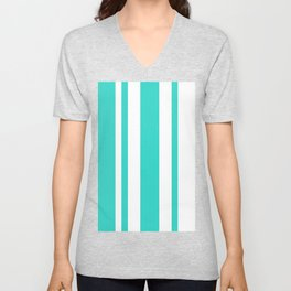 Mixed Vertical Stripes - White and Turquoise Unisex V-Neck