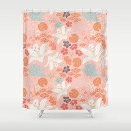 Orange Japanese pond florals Shower Curtain