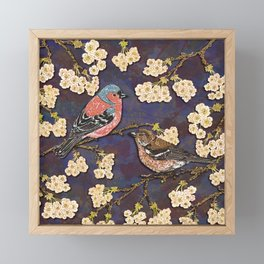 Chaffinches in Cherry Blossom Framed Mini Art Print