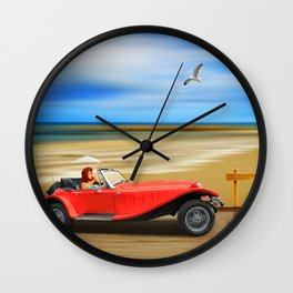 Pin-Up Girl on the road to the beach Wall Clock