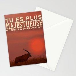 Tu es plus majestueuse qu'un oryx au soleil couchant Stationery Cards
