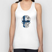 finland Tank Tops featuring Sugar Skull with Roses and Flag of Finland by Jeff Bartels