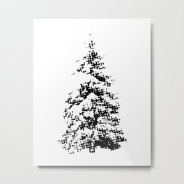 Newspaper Print Pine Trees Metal Print