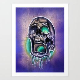 Dripping skull Art Print