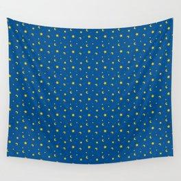 Night Sky Moon and Stars Wall Tapestry