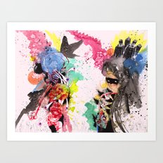 Skull Boom & Mysterious Paint Girl  Art Print
