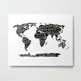 Travel quote map Metal Print