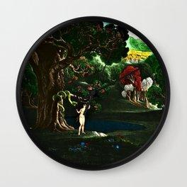Satan Tempting Eve in the Garden of Eden Landscape Painting Wall Clock