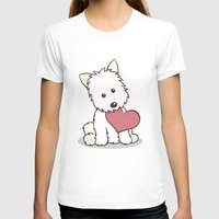 westie T-shirts featuring Westie Dog with Love Illustration by Li Kim Goh