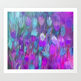 Field of Flowers in Purple, Blue and Pink Art Print