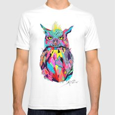 -Abstract Owl- MEDIUM Mens Fitted Tee White
