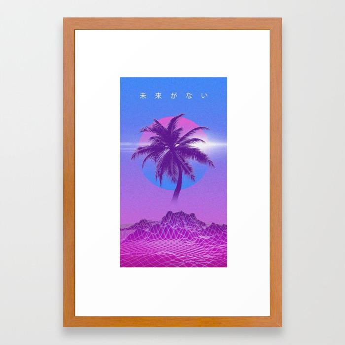 Vaporwave Palm Tree Framed Art Print By Ultramar Society6