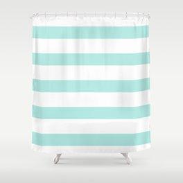 Aqua blue and White stripes lines - horizontal Shower Curtain