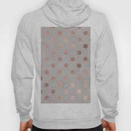 Rosegold simple pink metal foil polkadots on grey background 1 Hoody