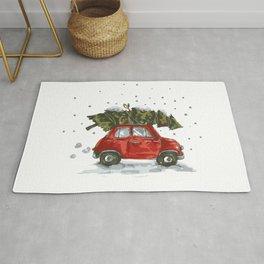 Vintage Car Christmas Pine Tree Rug
