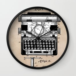patent art typewriter Wall Clock