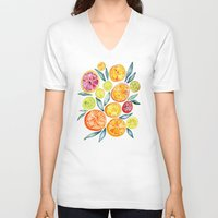 cup V-neck T-shirts featuring Sliced Citrus Watercolor by Cat Coquillette
