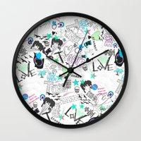 cartoon Wall Clocks featuring Cartoon Pattern by Eduardo Doreni