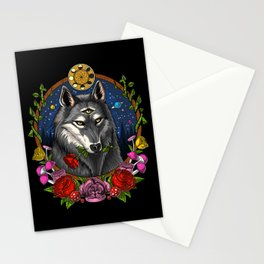Psychedelic Wolf Trippy Moon Phases Stationery Cards