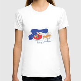 Merry Christmas - Santa Claus with deers and presents T-shirt