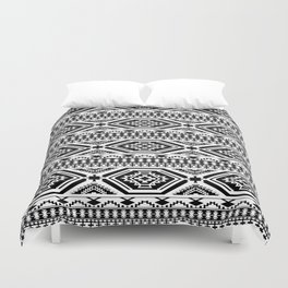 Aztec Geometric Print - Black Duvet Cover