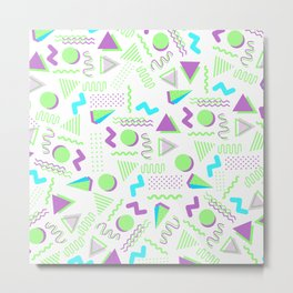 Retro lime green purple geometrical 80's pattern Metal Print