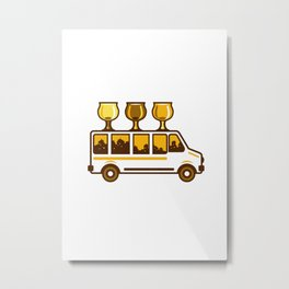 Beer Flight Glass Van Retro Metal Print