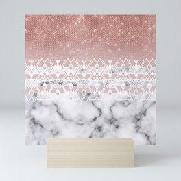 Modern Rose Gold White Marble Geometric Ombre Mini Art Print