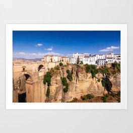 Puente Nuevo stone bridge and Pueblos Blancos in mountaintop town of Ronda in Spain Art Print