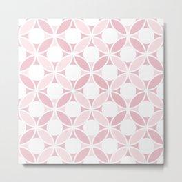 Geometric Orbital Spot Circles In Pastel Pinks & White Metal Print