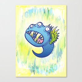 Terrific winged little blue monster Canvas Print