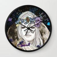 luna Wall Clocks featuring Luna by Jenndalyn