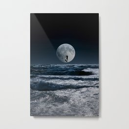 Kitesurfer in the moon in blue night sky horizon Metal Print
