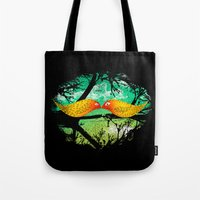 mustache Tote Bags featuring mustache by sustici