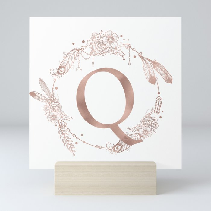 Letter Q Rose Gold Pink Initial Monogram Mini Art Print