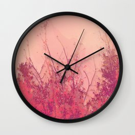 Lost in Pink (Carmine Pink Botanic Garden) Wall Clock