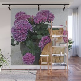 Cat and a Vase of Hydrangea Wall Mural