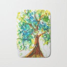 Gold Heart Tree Watercolor by CheyAnne Sexton Bath Mat