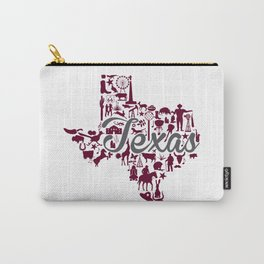 Texas A&M Landmark State - Maroon and Gray Texas A&M Theme Carry-All Pouch
