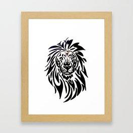 Lion face black and white Framed Art Print