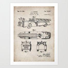 Fire Truck Patent - Aerial Fireman Truck Art - Antique Art Print