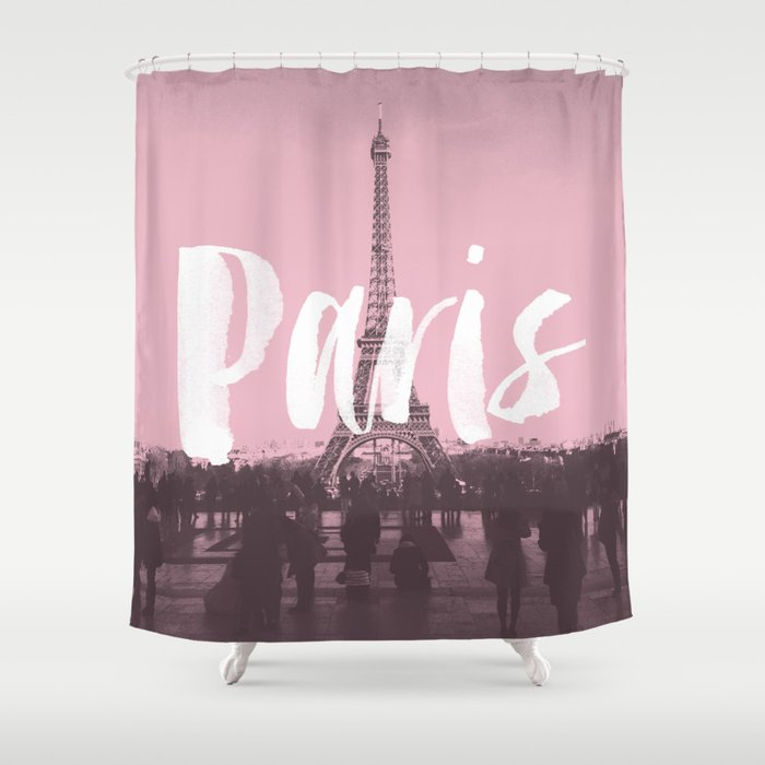 Pink Paris Eiffel Tower Shower Curtain