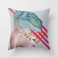 queer Throw Pillows featuring Queer Dinosaur by Kim Leutwyler