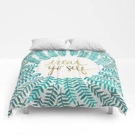 Treat Yo Self – Gold & Turquoise Comforters