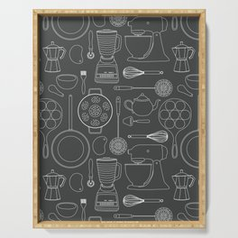 kitchen tools (white on black) Serving Tray