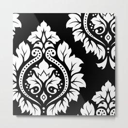 Decorative Damask Art I White on Black Metal Print