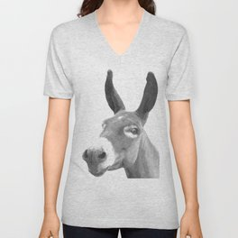 Black and white donkey Unisex V-Neck