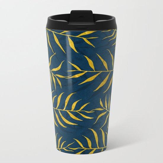 Golden Palm tree blue Metal Travel Mug
